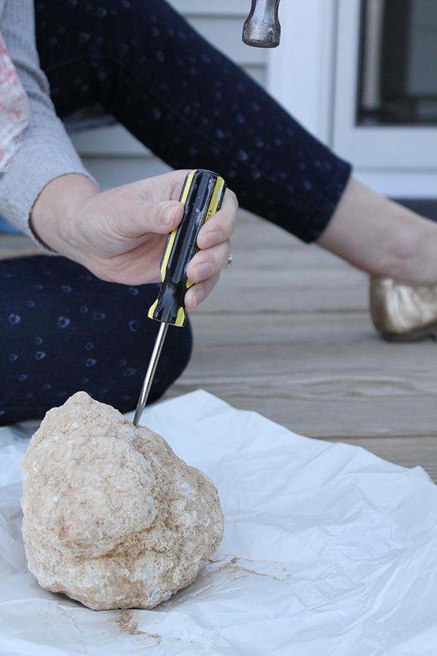 DIY break your own geode shelf decor