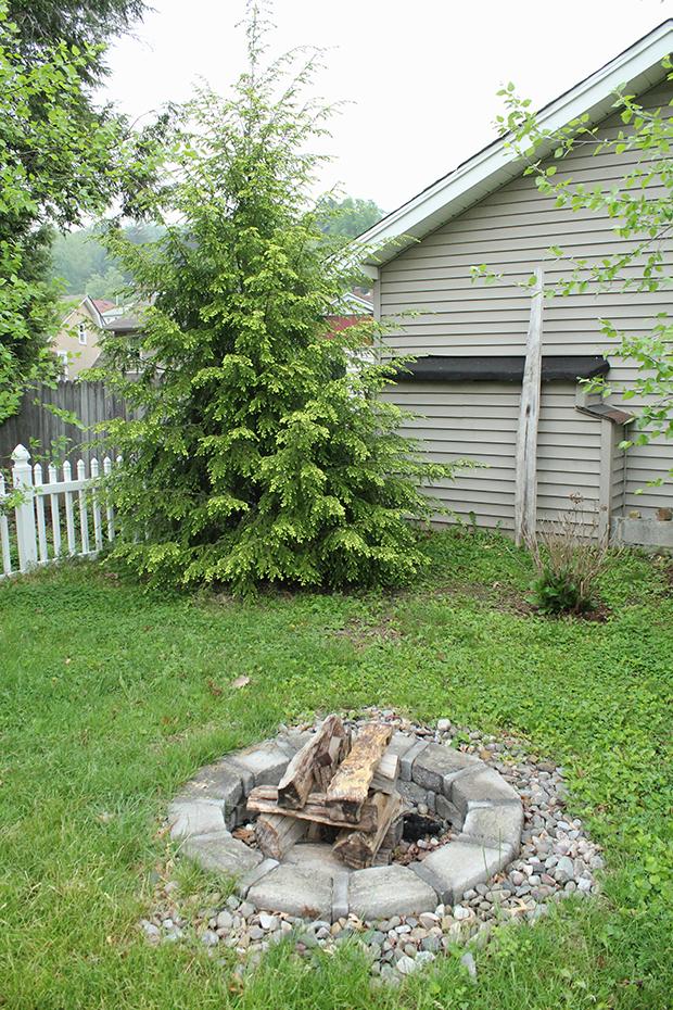 Lil' Spot Backyard - hemlock and fire pit.