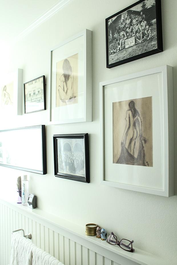 raised be design - bathroom renovation - framed art - gallery wall