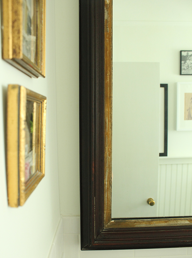 raised by design - bathroom renovation - gold frames