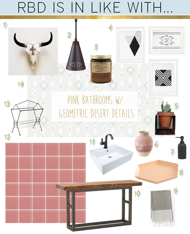 RBD in like with pink bathrooms and southwestern desert geometric