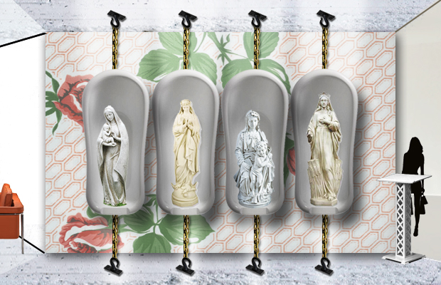 raised by design - the blue madonna - restaurant design concept - art feature - bathtub madonnas