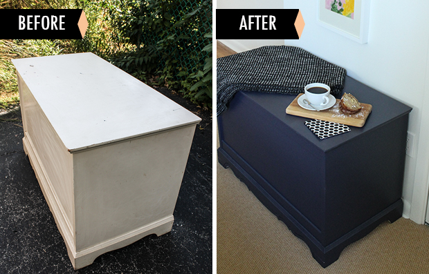 Before and After - Raised by Design painted bedroom chest