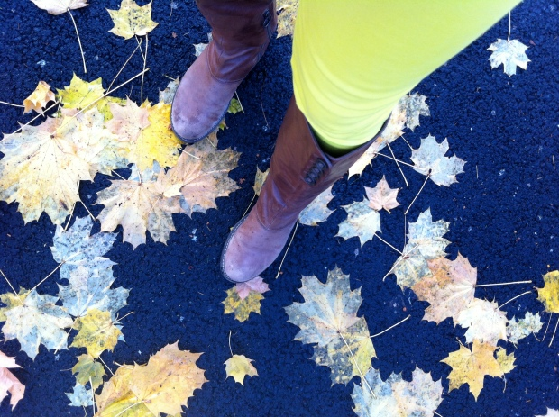 fall leaves with yellow pants